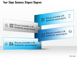 1114 Four Steps Business Origami Diagram Powerpoint Template