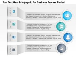 1114 Four Text Gear Infographic For Business Process Control PowerPoint Template