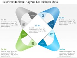 1114 Four Text Ribbon Diagram For Business Data PowerPoint Template