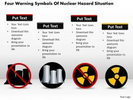 1114 Four Warning Symbols Of Nuclear Hazard Situation Powerpoint Template