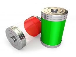 1114 Full Battery And Low Battery Icons Stock Photo