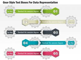 1114 Gear Style Text Boxes For Data Representation Powerpoint Template