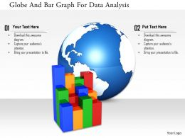 1114 Globe And Bar Graph For Data Analysis Image Graphics For Powerpoint
