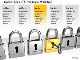 1114 Golden Lock In Silver Locks With Key Image Graphics For Powerpoint