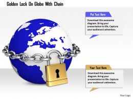 1114 Golden Lock On Globe With Chian Image Graphics For Powerpoint
