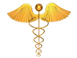 1114 Golden Symbol Of Medical Fields Stock Photo