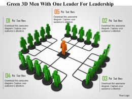 1114 Green 3d Men With One Leader For Leadership Ppt Graphics Icons