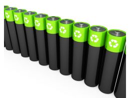 1114 Green And Black Cells Standing In A Row Stock Photo