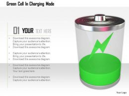 1114 Green Cell In Charging Mode Image Graphic For Powerpoint