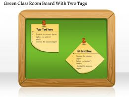 1114 Green Class Room Board With Two Tags Powerpoint Template