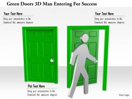 1114 Green Doors 3d Man Entering For Success Ppt Graphics Icons