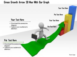 1114 Green Growth Arrow 3d Man With Bar Graph Ppt Graphics Icons