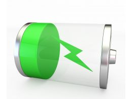 1114 Green Icon Of Battery Charging Stock Photo