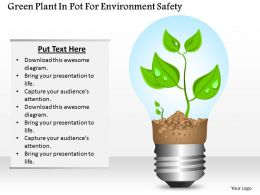 1114 Green Plant In Pot For Environment Safety Powerpoint Template