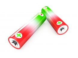 1114 Green Red Battery Cells On White Background Stock Photo