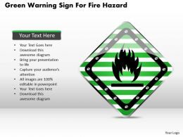 1114 Green Warning Sign For Fire Hazard Powerpoint Template