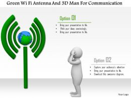 1114 Green Wi Fi Antenna And 3d Man For Communication Ppt Graphics Icons