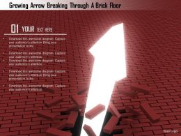 1114 Growing Arrow Breaking Through A Brick Floor Image Graphics For Powerpoint