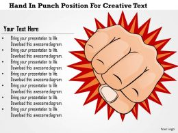 1114 Hand In Punch Position For Creative Text Powerpoint Template