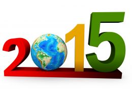 1114 Happy New Year 2015 And Globe Stock Photo