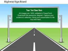 1114 Highway Sign Board With Editable Text Powerpoint Presentation