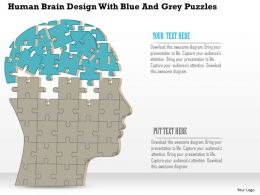 1114 Human Brain Design With Blue And Grey Puzzles Powerpoint Template