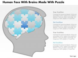 1114 Human Face With Brains Made With Puzzle Powerpoint Template