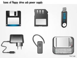 1114 Icons Of Floppy Drive Usb Power Supply Bluetooth Headset Mobile Phone Ppt Slide