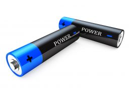 1114 Illustration Of Blue Black Power Cells Stock Photo