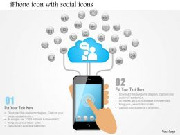 1114 Iphone Icon With Social Icons Coming From The Top And Finger Touching Screen Ppt Slide