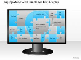1114 Laptop Made With Puzzle For Text Display Powerpoint Template