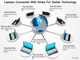 1114 Laptops Connected With Globe For Global Technology Image Graphics For Powerpoint