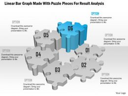 1114 Linear Bar Graph Made With Puzzle Pieces For Result Analysis Powerpoint Template