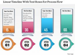 1114 Linear Timeline With Text Boxes For Process Flow Powerpoint Template