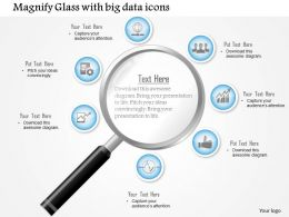 1114 Magnifying Glass With Big Data Icons Surrounding The Lens Ppt Slide
