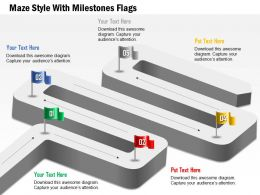 1114 Maze Style With Milestones Flags Powerpoint Template