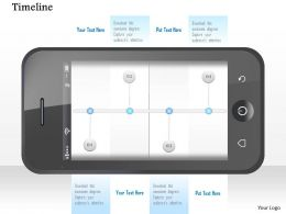 1114 Mobile With Timeline On Screen For Achievement Powerpoint Template