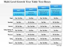1114 Multi Level Growth Text Table Text Boxes 1 Powerpoint Presentation