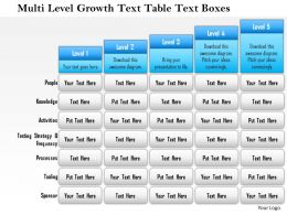 1114 Multi Level Growth Text Table Text Boxes 2 Powerpoint Presentation
