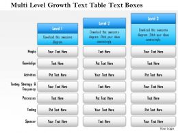 1114 Multi Level Growth Text Table Text Boxes Powerpoint Presentation