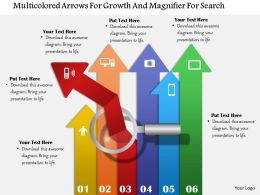 1114 Multicolored Arrows For Growth And Magnifier For Search Powerpoint Template