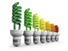 1114 Multicolored Cfl In Line For Teamwork Stock Photo
