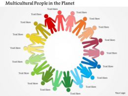 1114 Multicolored People With Hand In Hand Showing Unity Powerpoint Template