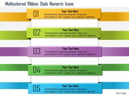 1114 Multicolored Ribbon Style Numeric Icons Powerpoint Template
