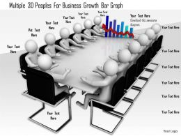 1114 Multiple 3d Peoples For Business Growth Bar Graph Ppt Graphics Icons