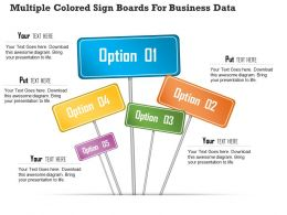 1114 Multiple Colored Sign Boards For Business Data PowerPoint Template