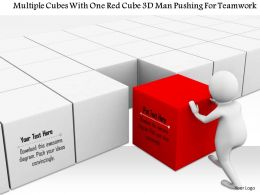 1114 Multiple Cubes With One Red Cube 3d Man Pushing For Teamwork Ppt Graphics Icons