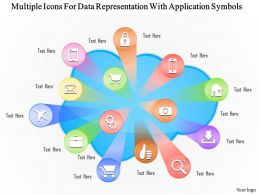1114 Multiple Icons For Data Representation With Application Symbols Powerpoint Template