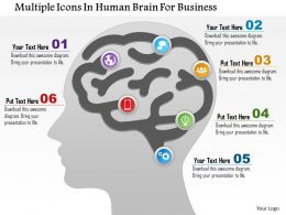 1114 Multiple Icons In Human Brain For Business Powerpoint Template
