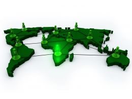 1114 Network Of Business People On World Map Stock Photo